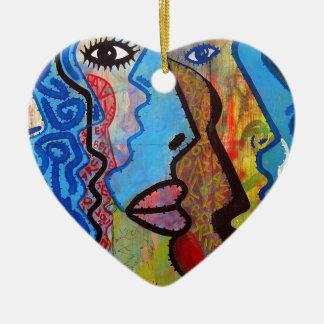 Colourful Abstract Graffiti Ceramic Heart Decoration