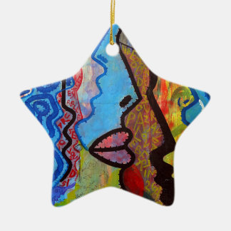 Colourful Abstract Graffiti Ceramic Star Decoration