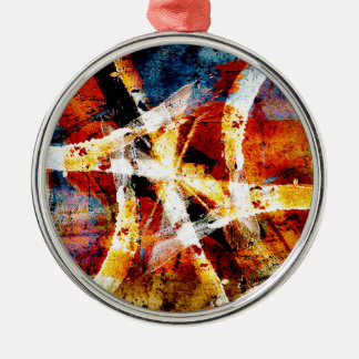 Colourful abstract graffiti Silver-Colored round decoration