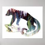 Colourful abstract  Kinkajou silhouette Poster