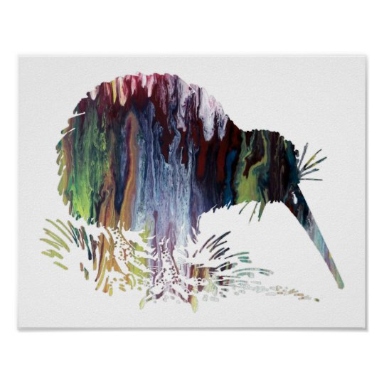 Colourful abstract  Kiwi silhouette Poster