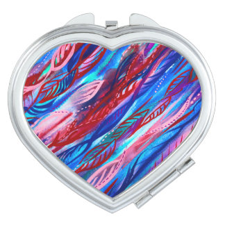 Colourful Abstract Leaf Watercolor Compact Mirror