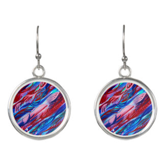 Colourful Abstract Leaf Watercolor Earrings