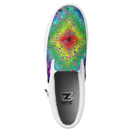 Colourful abstract leaves and crystals zipz Slip-On shoes
