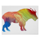 Colourful abstract Mountain Goat silhouette Poster