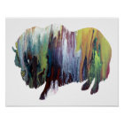 Colourful abstract muskox silhouette poster