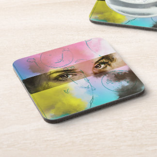 Colourful Abstract Pop Art, 6 Plastic Coasters Set