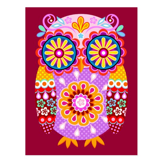 Colourful Abstract Retro Owl Postcards