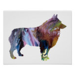Colourful abstract Schipperke silhouette Poster
