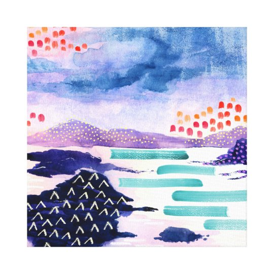 Colourful abstract Scottish Loch Printed Canvas