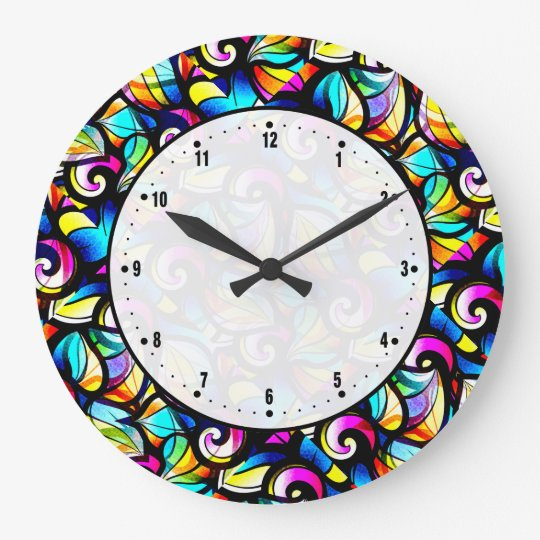Colourful Abstract Swirls Stained Glass Look Large Clock