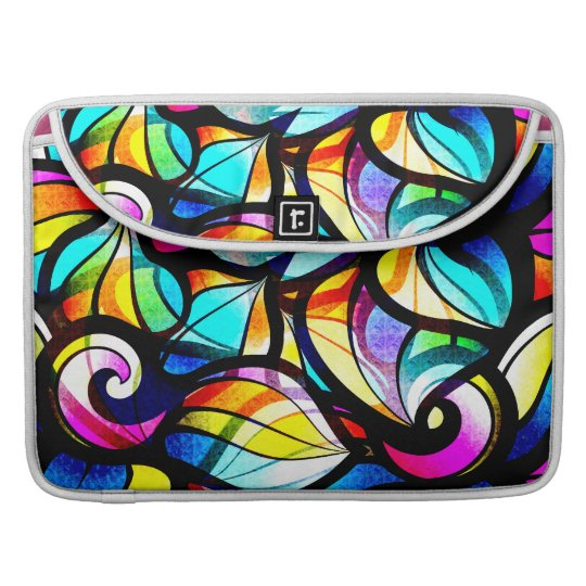 Colourful Abstract Swirls Stained Glass Look Sleeve For MacBooks