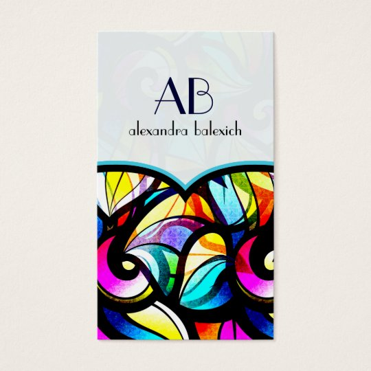 Colourful Abstract Swirls Stained Glass Template Business Card
