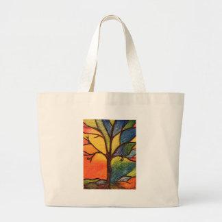 Colourful abstract tree jumbo tote