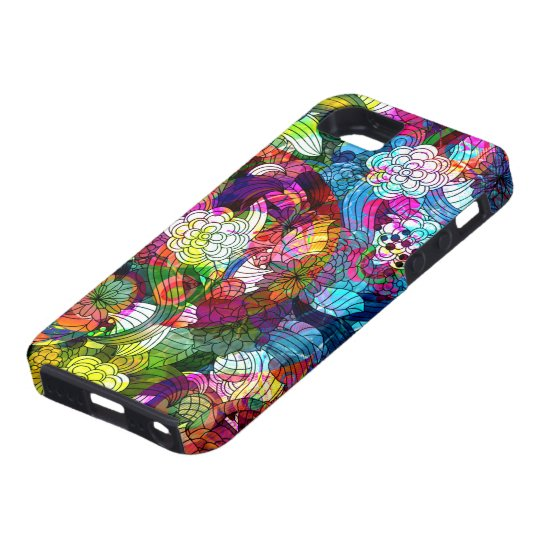 Colourful Abstract Vintage Flowers Collage iPhone 5 Cases
