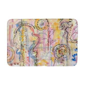 Colourful abstract watercolour painting bath mat
