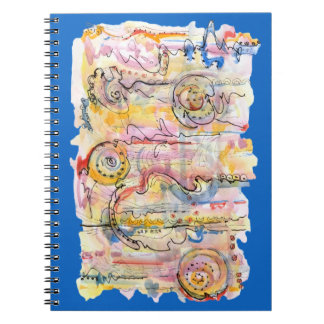 Colourful abstract watercolour painting notebook