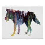 Colourful abstract Wolf silhouette Poster