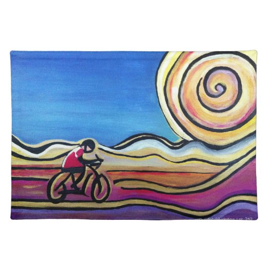 Colourful acrylic cyclist placemat