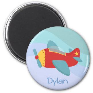 Colourful & Adorable Cartoon Aeroplane 6 Cm Round Magnet