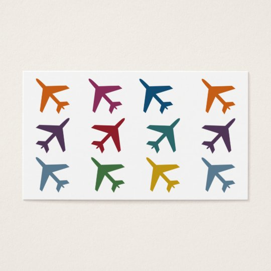 Colourful Aeroplanes Travel Business Cards