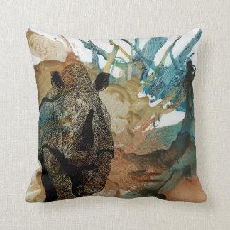 Colourful African animal cushion, charging Rhino Cushion