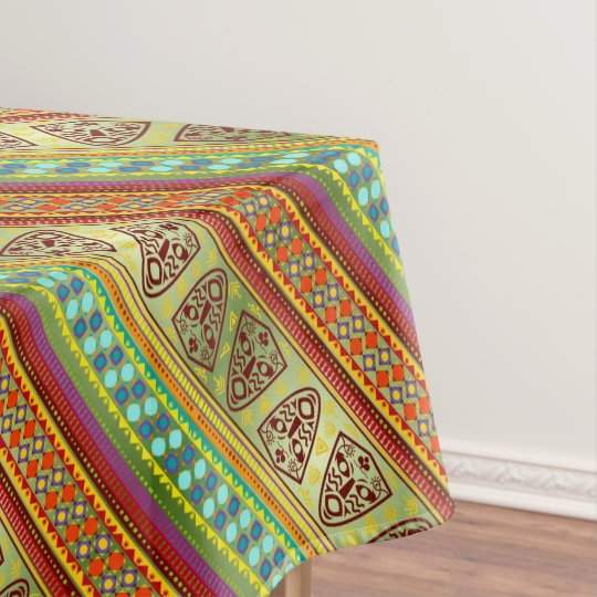 Colourful African Masks Stripe Kente Pattern Tablecloth