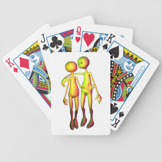 Colourful Alien Couple Bicycle Playing Cards