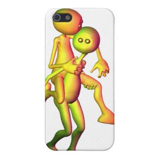 Colourful Alien Couple piggyback iPhone 5 Case