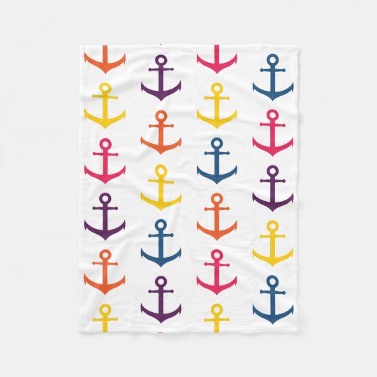 Colourful anchors pattern fleece blanket