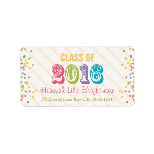 Colourful and Bright Class of 2016 Label
