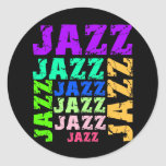 Colourful and cool jazz round stickers