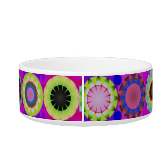 Colourful and fun retro circles pet bowl