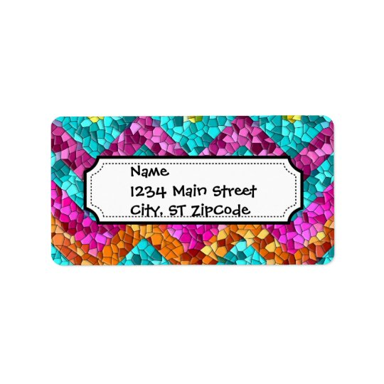 Colourful and Fun Tile Mosaic Chevron Pattern Label
