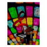 Colourful and Jazzy Treble Clef and Piano Poster