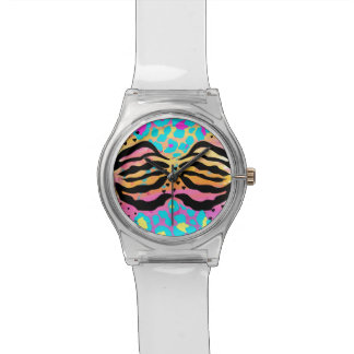 Colourful animal print watch