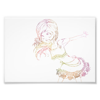 Colourful Anime Popstar Cropped - White Background Photo Print