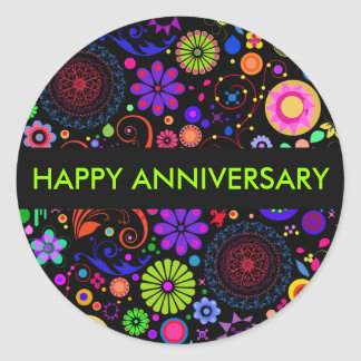 Colourful Anniversary Round Sticker