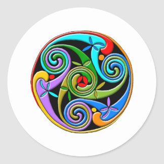 Colourful Antique Style Celtic Art Round Sticker