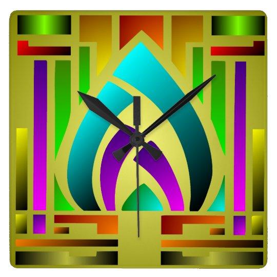 Colourful Art Deco Square Wall Clock