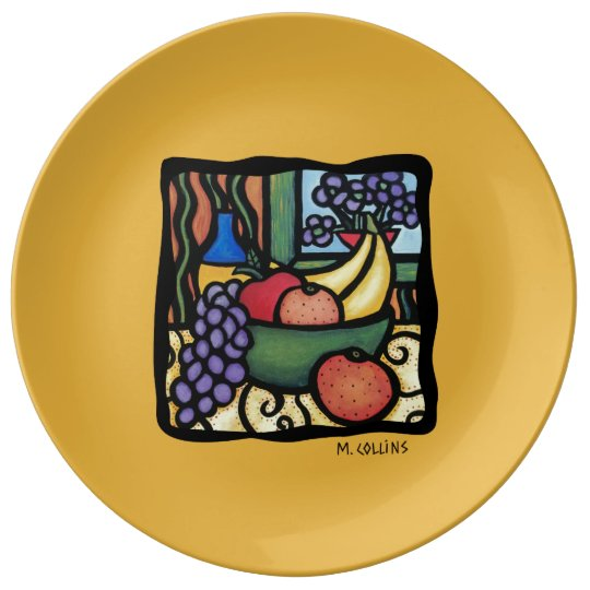 Colourful Art Mixed Fruit Yellow Porcelain Plate
