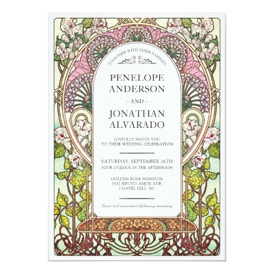 Colourful Art Nouveau Wedding Invitations (Set #9)