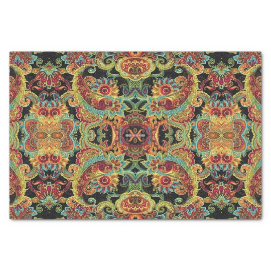 Colourful artistic drawn paisley pattern tissue paper