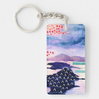 Colourful Artistic Watercolour Painting Key Chain