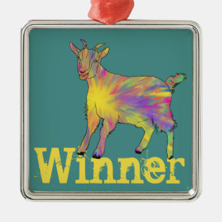 Colourful Artsy Goat Standing on Personalised Word Silver-Colored Square Decoration