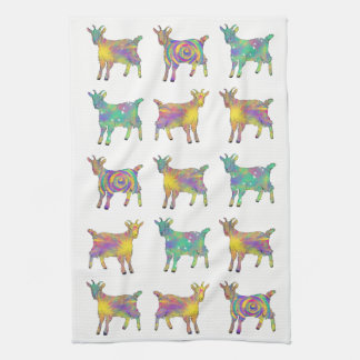 Colourful Artsy Goats Standing on Things Design Tea Towel