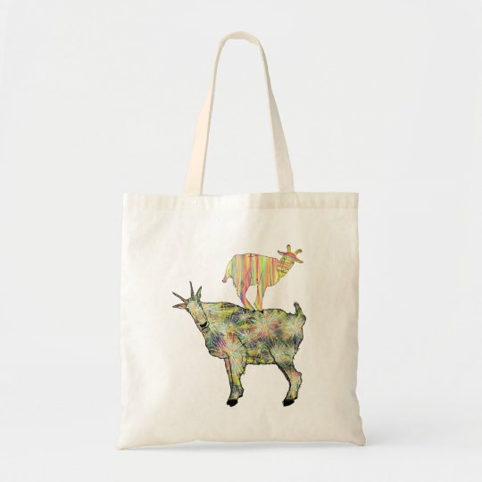 Colourful Artsy Goats Standing on Things Design Tote