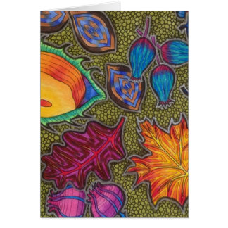 Colourful Autumn Fall seeds and leaves Card