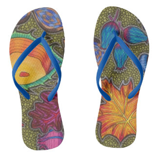 Colourful Autumn Fall seeds and leaves Flip Flops