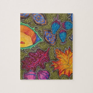 Colourful Autumn Fall seeds and leaves Jigsaw Puzzle